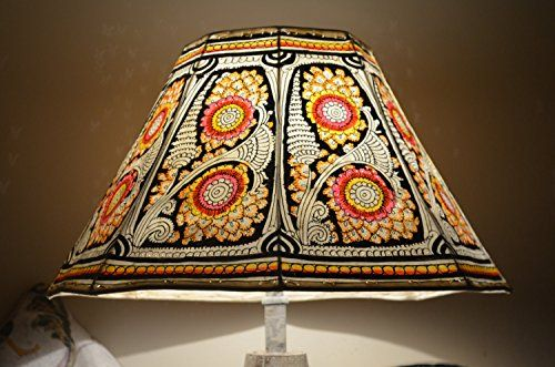 Stunning Floral Motif Floor Lampshade, Hand Painted Leather Lampshade, Floor Lamp, Large Lamp Shade.