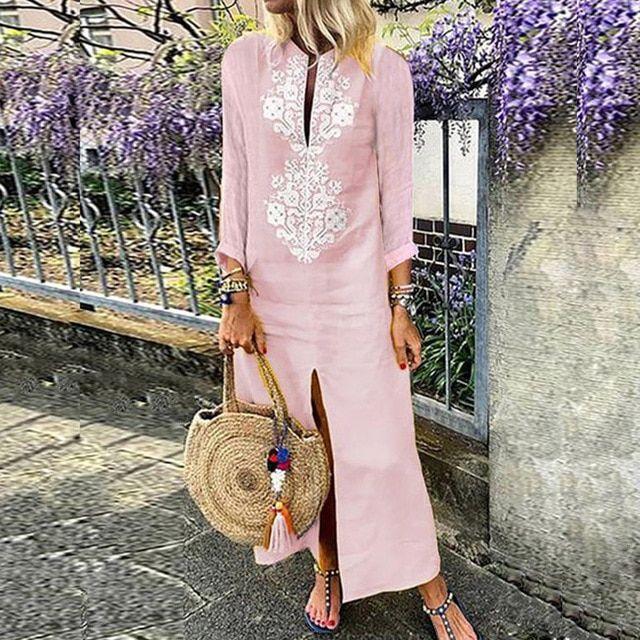 Women Loose Linen Long Dress Summer Print Vintage Maxi Dresses Casual Long Sleeve Kaftan Beach Robe Dress Color 03 Pink Size S 2
