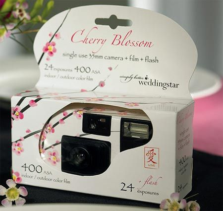 Disposable Cherry Blossom Wedding Cameras plus purchase of card explaining purpose...