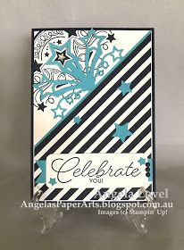 This birthday card features the versatile Stampin' Up! Birthday Blast stamp set and co-ordinating Star Blast Edgelits dies which are only available until 31 May 2017 or while stock lasts from http://www3.stampinup.com/ECWeb/default.aspx?dbwsdemoid=4011749  #angelaspaperarts #stampinup #Occasions2017