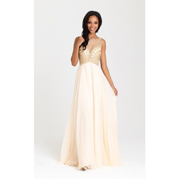 Madison James 16324 Prom Dress 2016 Long High Neckline Sleeveless ($470) ❤ liked on Polyvore featuring dresses, champagne, formal dresses, long beaded dress, champagne formal dress, glitter prom dresses, see through prom dress and high neck prom dresses