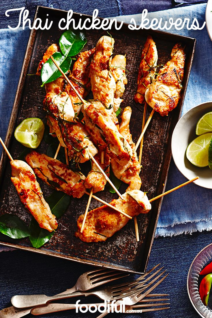 They're always a favourite entree when the family go for Thai, but now you can make your own chicken skewers at home with this delicious recipe. With a touch of chilli, they're ideal for barbecue entertaining. This recipe takes 45 minutes and serves 16.