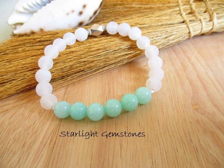 Boho, Beach, Summer Inspired - White Dragon Vein Agate and Mint Jade Gemstone Bracelet by StarlightGemstones on Etsy