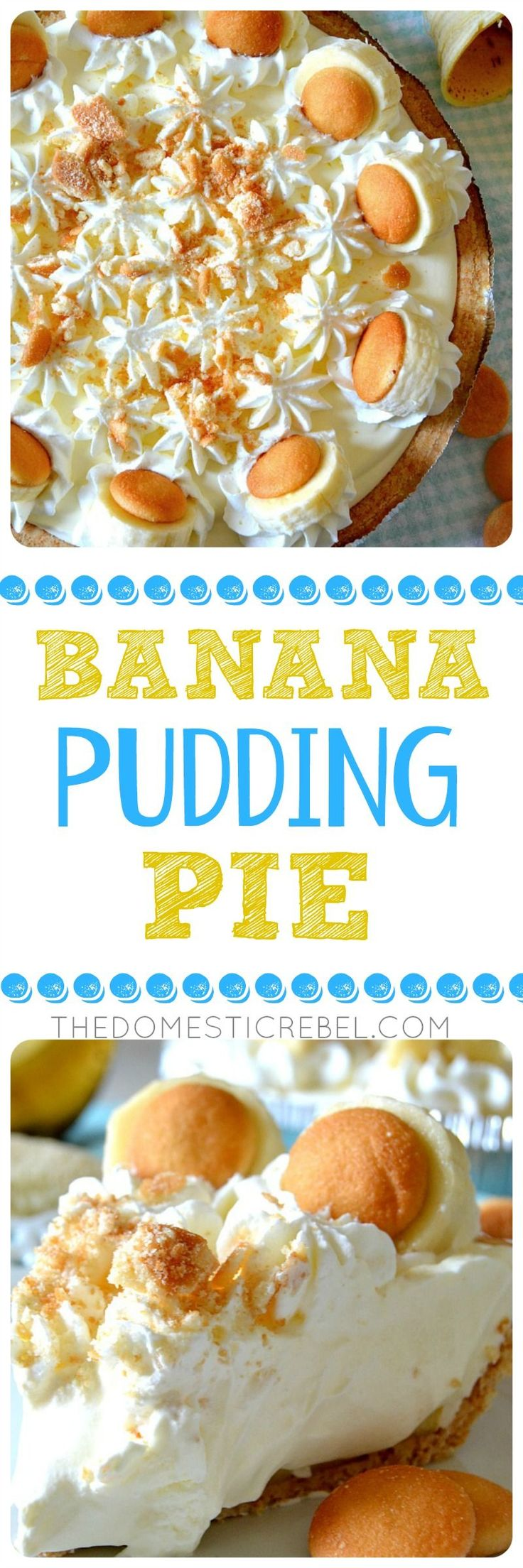 This is the BEST Banana Pudding Pie EVER! Promise :) Layers of sweet Nilla Wafers, fresh bananas, a creamy, smooth-as-silk banana pudding and homemade whipped cream come together in this easy, simple pie!