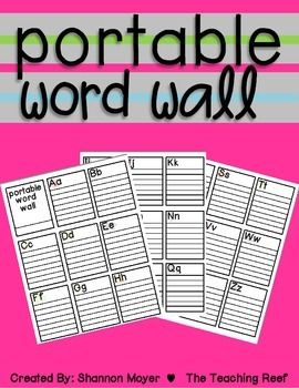 This blank word wall is great for allowing every student in your classroom to have their very own portable word wall. It is 3 pages in length with 9 boxes on each page. There is one box for each letter of the alphabet as well as lines in each box for keeping the words organized!