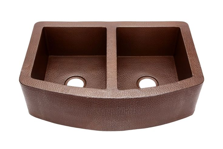 "Picture of 33"" Rounded Front Double-Well Med Copper Farmhouse Sink"