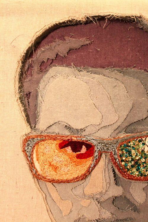 Jake Wilkensen self-portrait: applique, reverse applique and embroidery