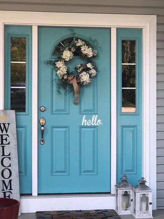 Hello Door Decal Front Door Vinyl Lettering Outdoor Door Etsy In 2020 Painted Front Doors Exterior Door Colors Front Door Paint Colors