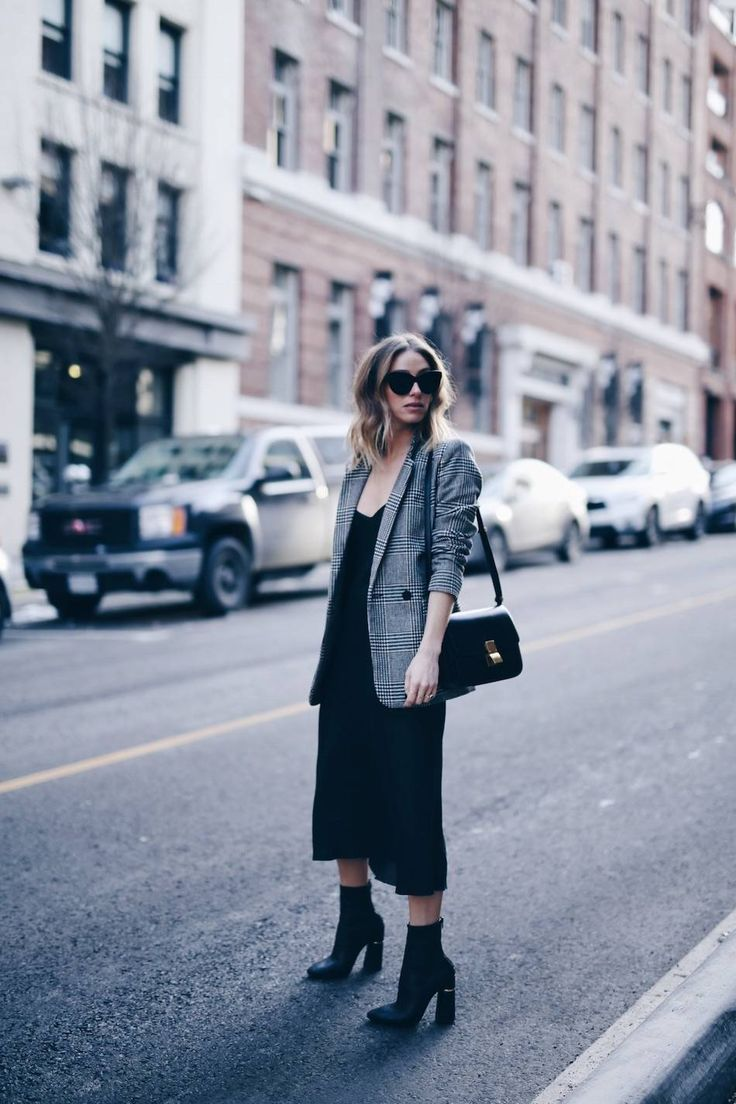 Slip dress and plaid boyfriend blazer with Celine box bag | The August Diaries