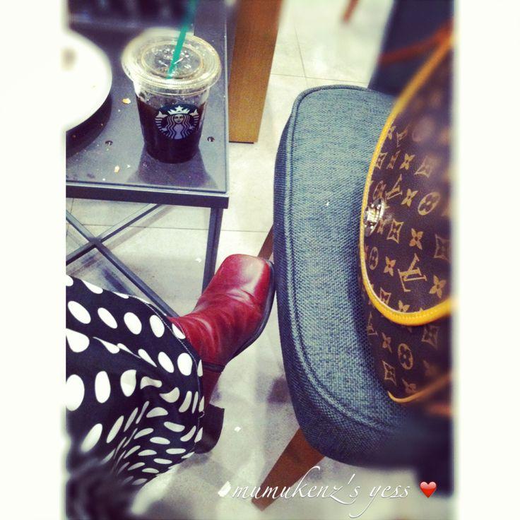 Maroon Leather Boots; LV HandBag; Polkadot Abaya; Black Hijab Khimar; Black Coffee; Americano Ice Coffee; Starbucks Coffee
