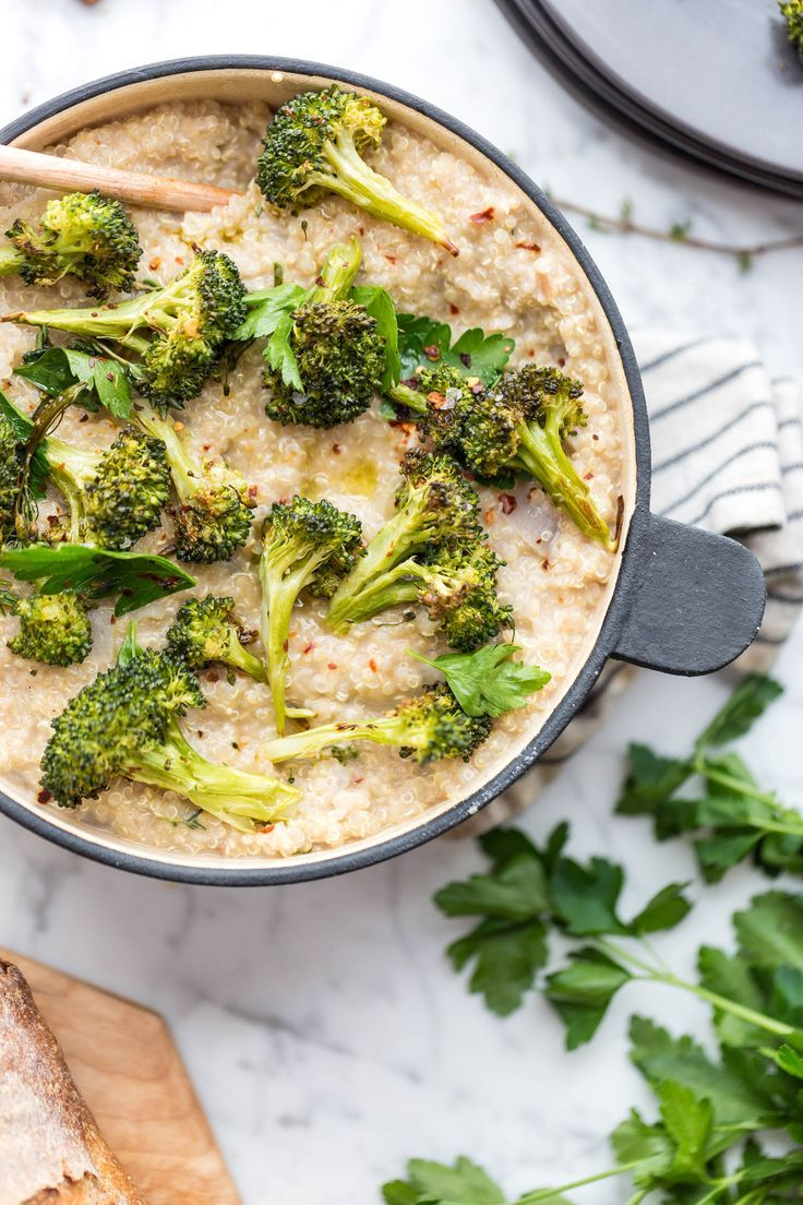 Creamy Quinoa and White Bean Risotto with Crispy Brassica Florets recipe from The First Mess cookbook. A Healthy plant-based main dish perfect for a dinner.