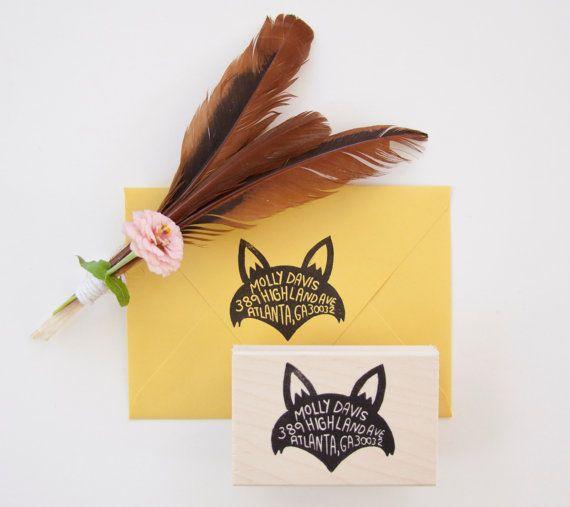 Fox Return Address Stamp by nativebear on Etsy, $55.00