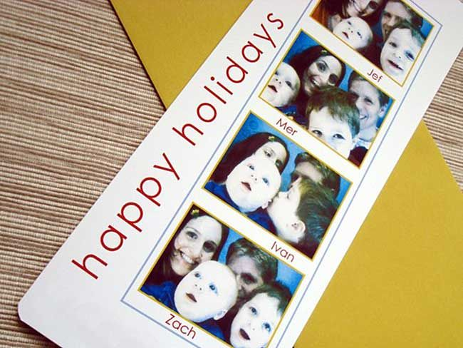 8 Clever Ways To Celebrate The Holidays With Books Brightly Christmas Photo Cards Christmas Photo Booth Custom Christmas Cards
