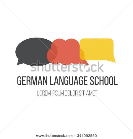 #Logo for #German #language #courses or #school with #speech #bubbles in german flag color. Made in #vector. Easy to edit. #shutterstock #germany