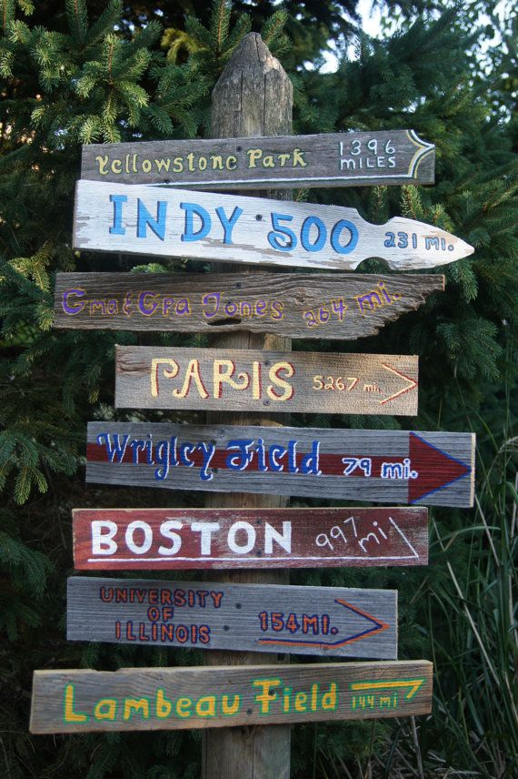When we buy our first house, I am absolutely making a post with our favorite places to go in our yard. Will include Vancouver, Harrisonburg, Washington DC, etc. Have each sign pointing the direction with mileage. Want it to be a stained wood with white lettering. (Not too rustic or touristy looking)