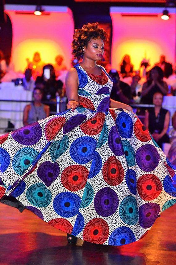 De Podot Quistt elegante jurk Afrikaanse Print lange door Quistt