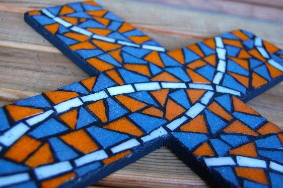 Large Mosaic Cross  Orange Blue & White by CraftsandCrosses, $40.00