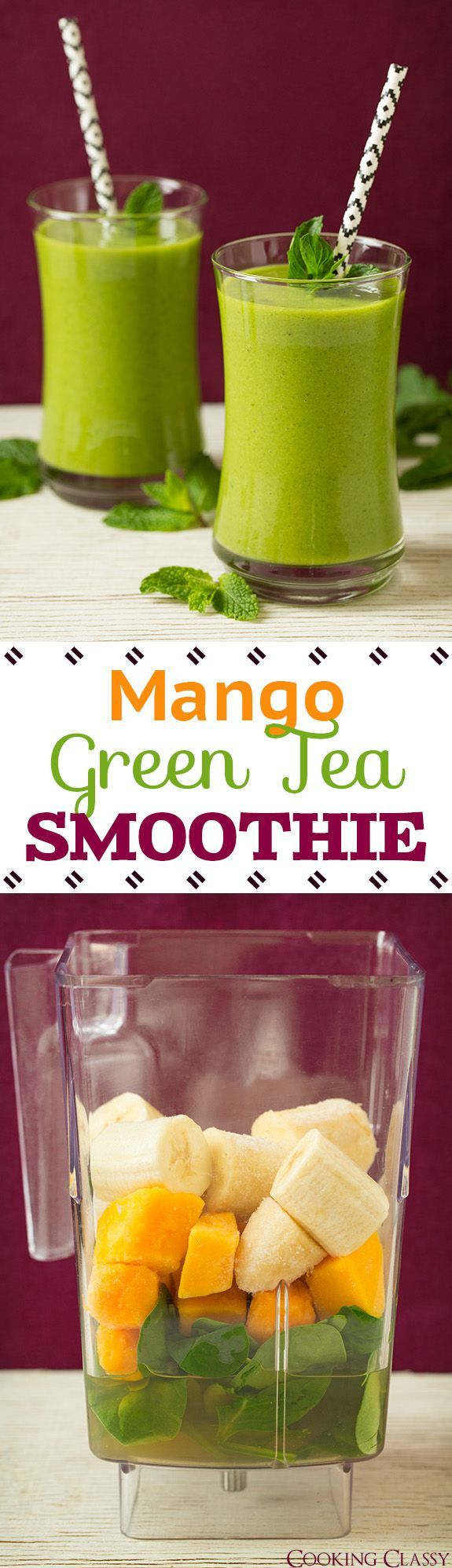 Mango Green Tea Smoothie - vibrant, refreshing and so good!! With the benefits of green tea I'll be making this one all the time!
