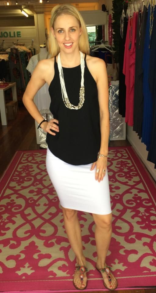 JERSEY PENCIL SKIRT $40 AVAILABLE IN WHITE BLACK AND CHERRY RED