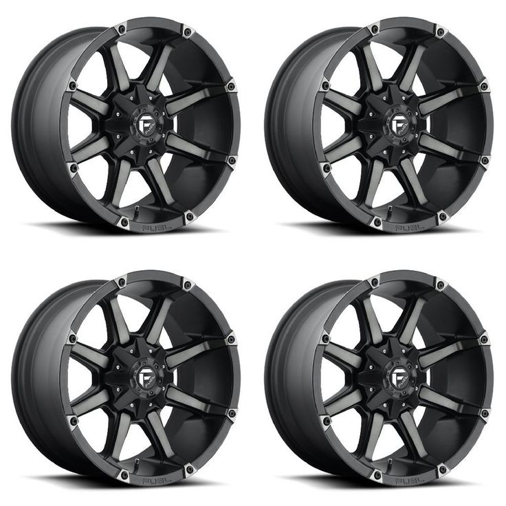 "Set 4 20"" Fuel Coupler D556 Black Machined Dark Tint Rims"