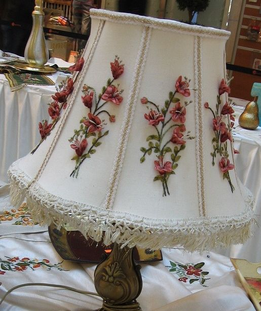 Lampshade embellished with silk ribbon embroidery