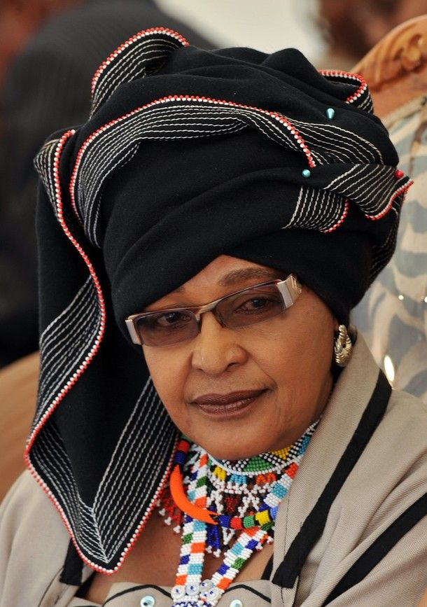 Africa | Winnie Madikizela-Mandela, former wife of Former South African President Nelson Mandela dressed in Xhosa tribe garbe