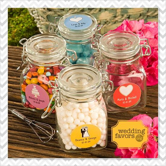 diy wedding candy favors jars.