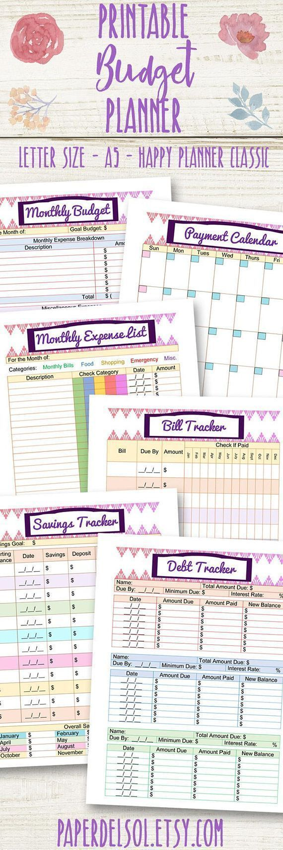 Printable Budget and Finance Planner! Includes all the tools to get you out of debt and work toward your savings goal. Start by writing out your Monthly Budget goals. Use the sheets to find out how much your total expenses are and where your money is going. Next, list out ways you can save and start to keep track towards your savings goal. Keep track of your bills and your income sources. Finally use the monthly Payment Calendar to write out your credits and debits. #ad #budget #finance…