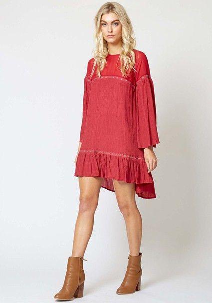 Three Of Something - Wise War Dress - Rose Red