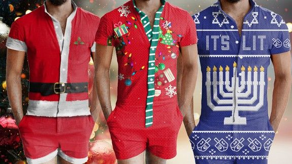There are ugly Christmas Rompers for men and Big Sweater is gonna be pissed