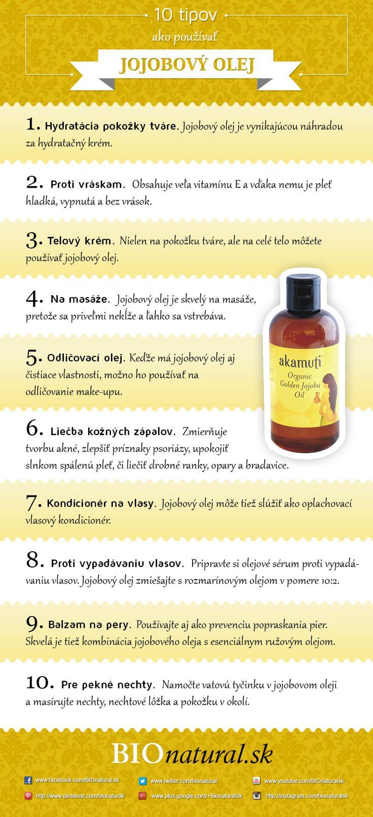 10 tipov na použitie jojobového oleja http://www.bionatural.sk/a/10-tipov-ako-pouzivat-jojobovy-olej-infografika