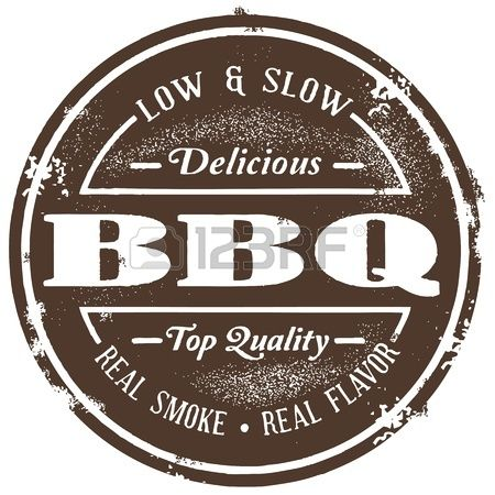 Vintage Barbecue BBQ Stamp Stock Vector