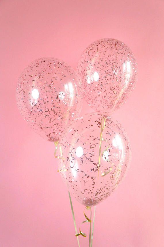 Rose Gold Pink Glitter Confetti Balloon | 11 inch, 16 inch, 18 inch, 36 inch or 5 inch glitter confetti balloon