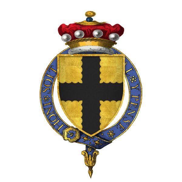 The arms of Sir John de Mohun, 2nd Baron Mohun. The engrailed cross.