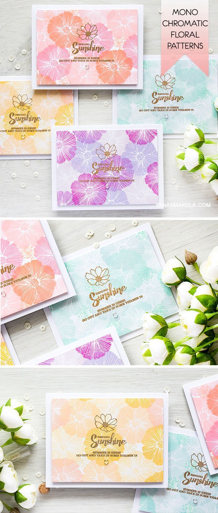 Create beautiful monochromatic stamped floral patterns with the help of Happy Days stamp set and dye inks from Simon Says Stamp. For details and a video tutorial, visit http://www.yanasmakula.com/?p=54310