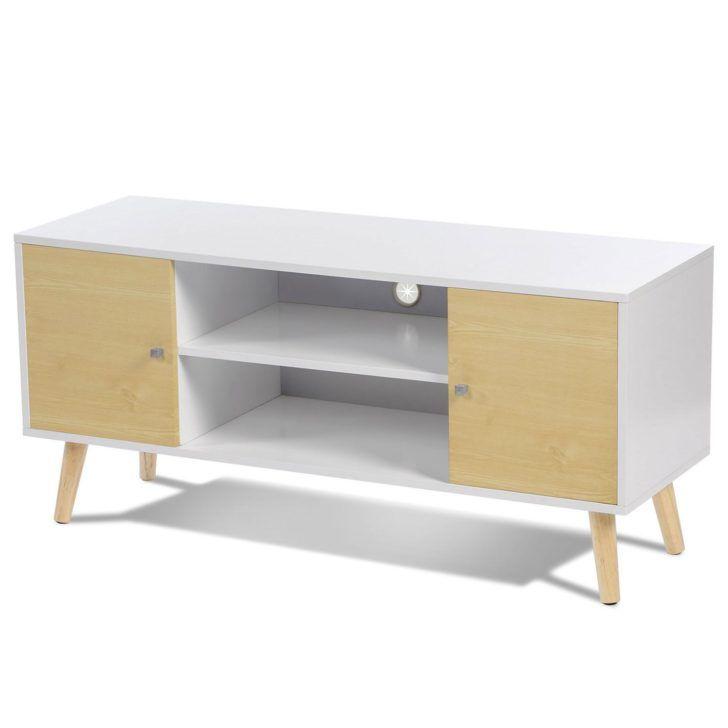 Interior Design Meuble Tv Blanc Et Bois Meuble Tv Effie Scandinave Bois Blanc Et Imitation Hetre Idmarket Avec Portes Facon Home Decor Corner Desk Office Desk