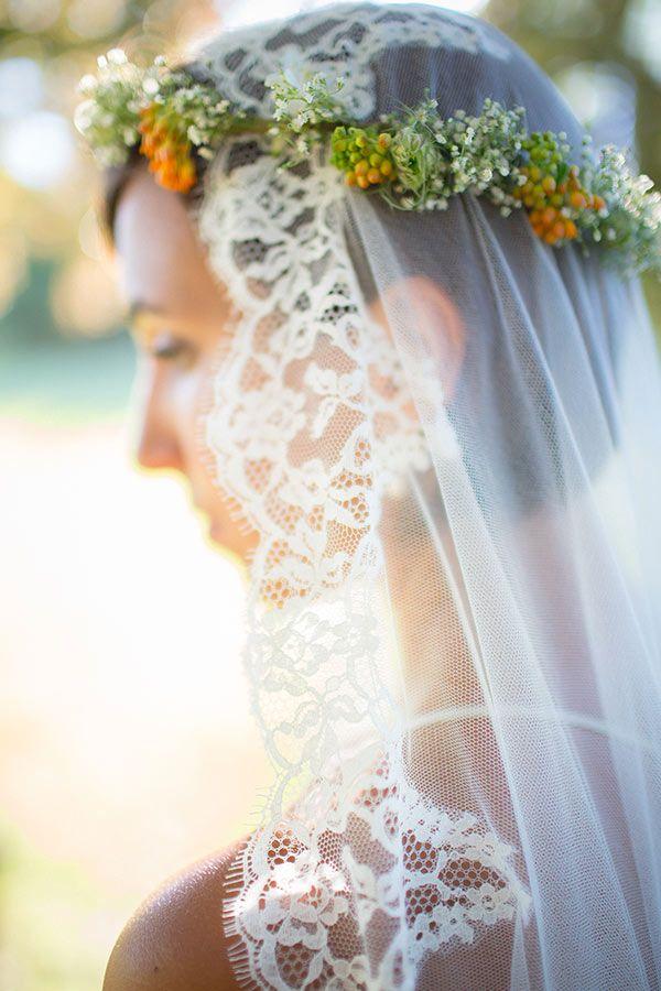 Voile de mariée en tulle de soie bordé de