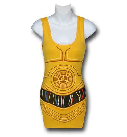 Images of Star Wars Women's C3PO Costume Tank Top