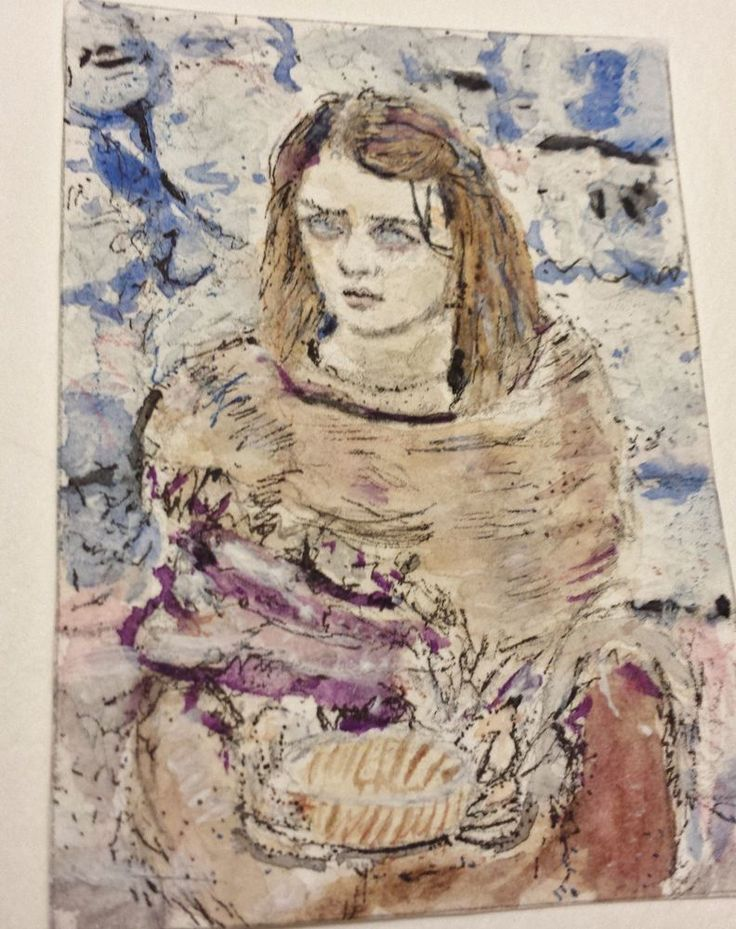Blind Arya Stark Game of Thrones watercolor  aceo original painting #Miniature