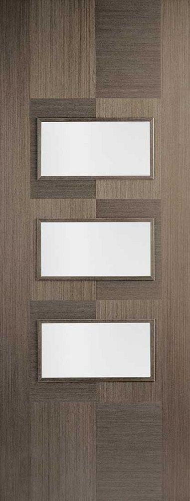 Leeds Doors Apollo 3 Light Clear Glass Door 78x30 Choco Grey   Internal  Doors   Colours