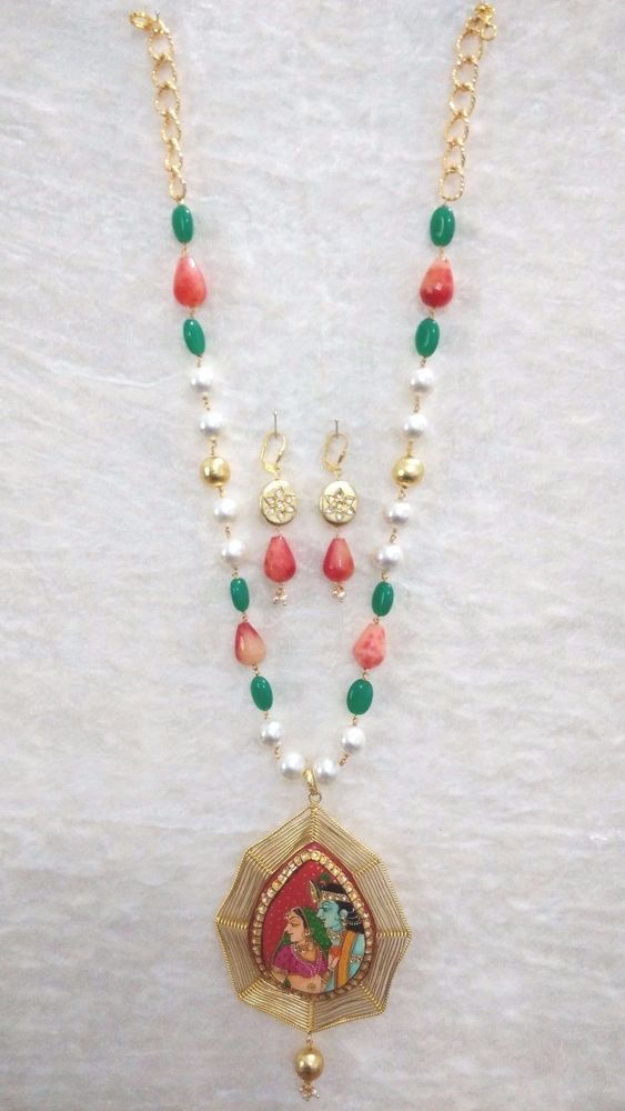 Bollywood Indian Traditional Set With Gold Plated Krishna Pendant Onyx Pearl #SparshJewels