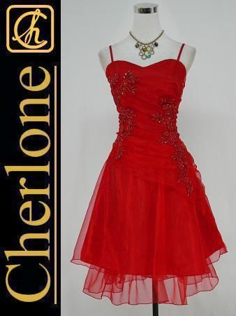 Cherlone Satin Red Lace Prom Ball Cocktail Party Evening Bridesmaid Dress 16-18