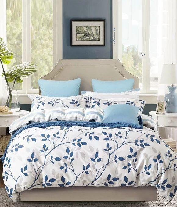 Sivé obojstranné posteľné obliečky s listami