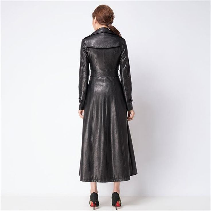 Women Double Breasted Black Long Leather Coats 2016 Autumn Winter High Quality Plus Size Slim X-Long Trench Coat RS393