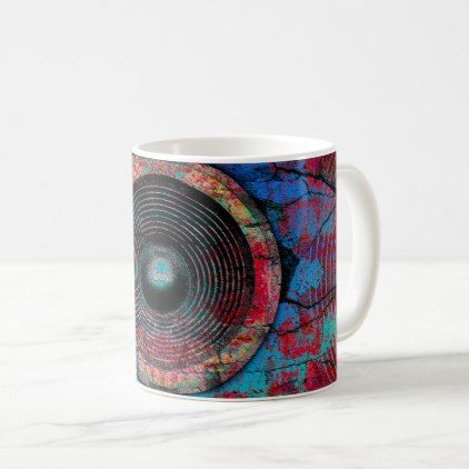 Red music speakers on a cracked wall coffee mug - home gifts ideas decor special unique custom individual customized individualized