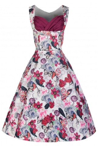 Lindy Bop Ophelia Butterfly Floral Spring Dress