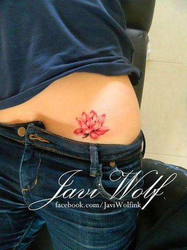 Vermelho Flor de Lótus da Tatuagem Deisgn para as Mulheres