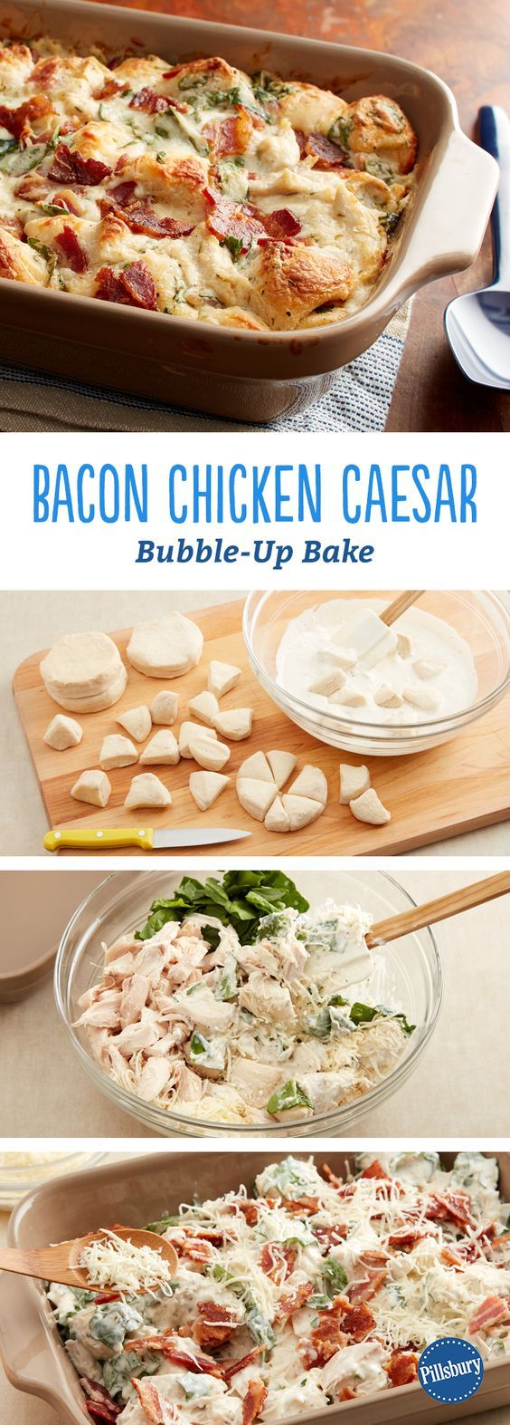 Chicken Bacon Caesar Bubble-Up Bake: This quick-prep weeknight dinner is literally bubbling up with flavor! For an easy and impressive meal, combine Caesar dressing, bacon and fresh spinach in a warm biscuit bake.