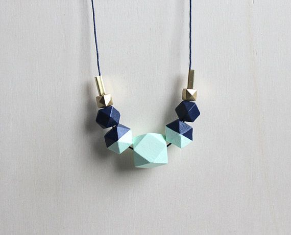 bright mint and blue wooden geometric necklace // hand painted wood necklace for her - everyday jewelry - eco-friendly statement necklace