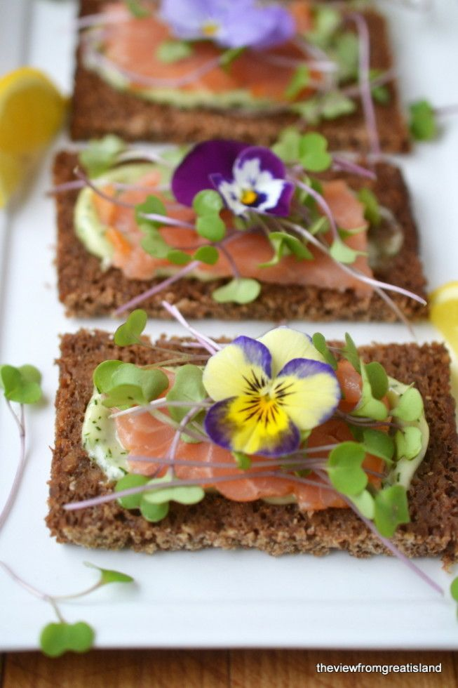 Microgreens salad toppings on a Nordic Open Faced Smoked Salmon Cracker